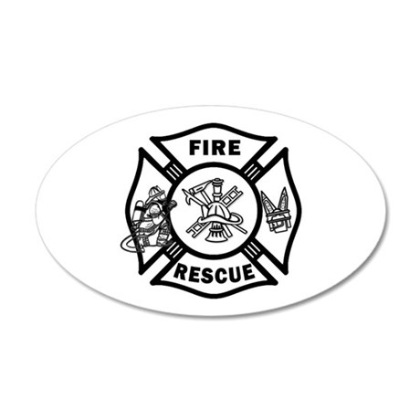 Fire Rescue 35x21 Oval Wall Decal
