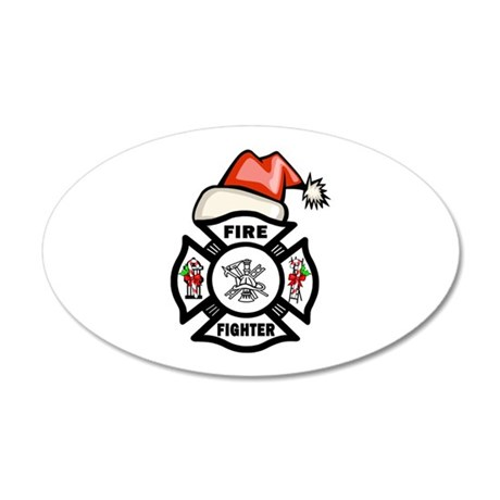 Firefighter Santa 35x21 Oval Wall Decal