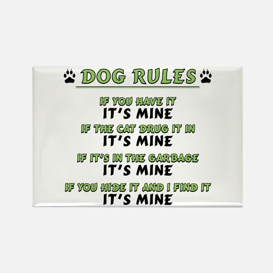 Dog Rules Rectangle Magnet