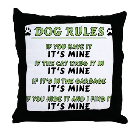 Throw Pillows Room And Board : Dog Rules Throw Pillow by JINJINJUNCTION
