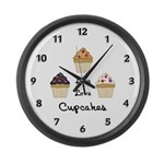 Live Love Cupcakes Large Wall Clock