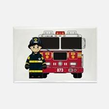 Firefighter and Fire Engine Magnet