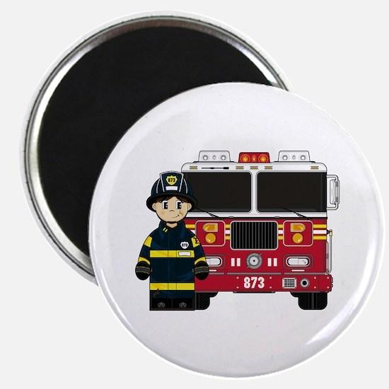 "Cute Firefighter 2.25"" Magnet (10 pack)"