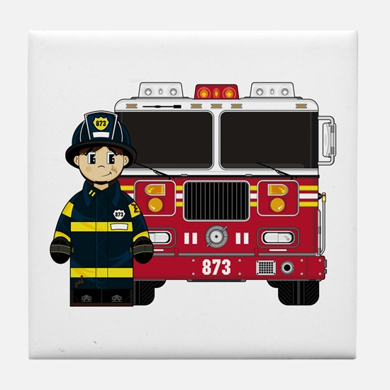 Firefighter and Fire Engine Tile Coaster