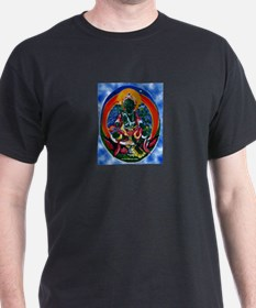Green Tara Buddhist Black T-Shirt