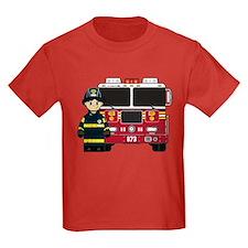 Firefighter and Fire Engine Kids T-Shirt