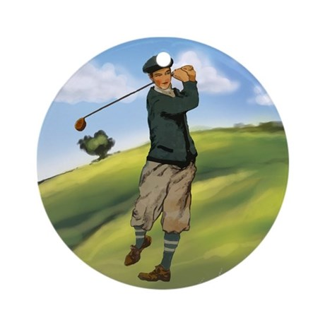 Vintage golf golfer style Ornament (Round)