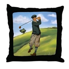 Vintage golf golfer style Throw Pillow