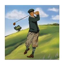 Vintage golf golfer style Tile Coaster
