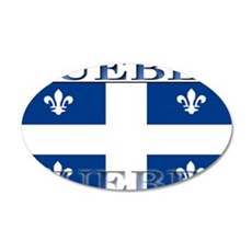 Quebec Quebecer Flag 22x14 Oval Wall Peel