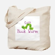 Cora Personalized Book Worm Tote Bag