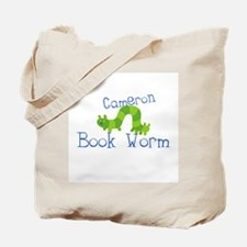 Cameron Personalized Book Worm Tote Bag