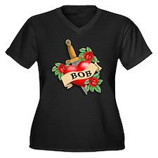 Bob's heart Women's Plus Size V-Neck Dark T-Shirt