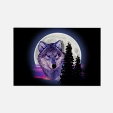 Moon Wolf Rectangle Magnet