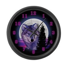 Moon Wolf Large Wall Clock