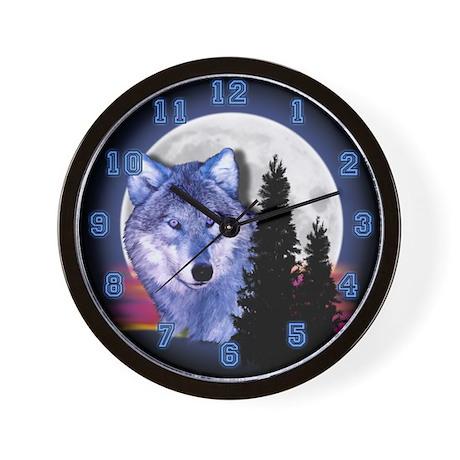 Moon Wolf Wall Clock