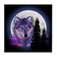 Moon Wolf Tile Coaster