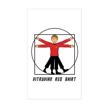 Vitruvian Red Shirt Sticker (Rectangle)