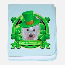 Happy St. Patrick's Day Westie baby blanket
