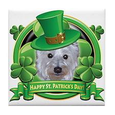 Happy St. Patrick's Day Westie Tile Coaster