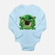 Happy St. Patrick's Day Pug Long Sleeve Infant Bod