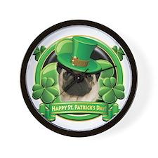 Happy St. Patrick's Day Pug Wall Clock