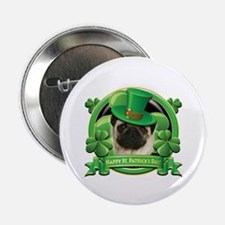 """Happy St. Patrick's Day Pug 2.25"""" Button (10 pack)"""