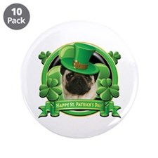 "Happy St. Patrick's Day Pug 3.5"" Button (10 pack)"