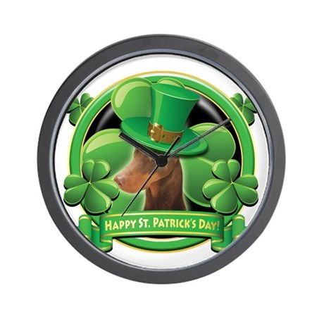 Happy St. Patrick's Day Doberman Wall Clock