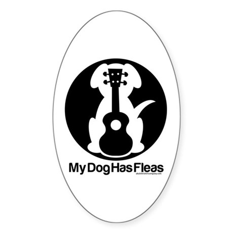 My Dog Has Fleas Ukulele Mugs Sticker (Oval)