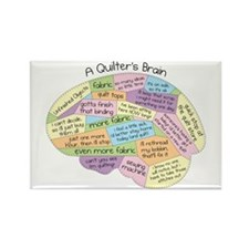 Quilter's Brain Rectangle Magnet
