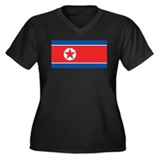 North Korea Flag Women's Plus Size V-Neck Dark T-S