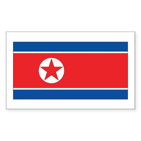 North Korea Flag Sticker (Rectangle)