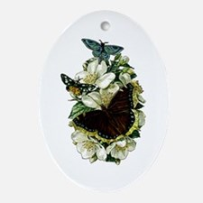 Provencal Butterfly Briar Rose Ornament (Oval)