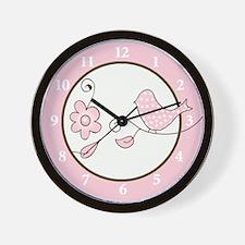 Blossom Trendy Pink Bird Wall Clock