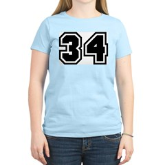 Varsity Uniform Number 34 Women's Pink T-Shirt