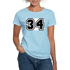 Varsity Uniform Number 34 Women's Pink T-Shirt