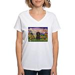 Autumn Angel & Affenpinscher Women's V-Neck T-Shir