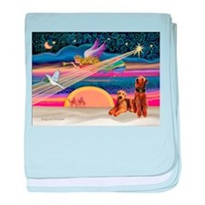 Xmas Star/2 Airedales baby blanket