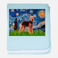 Starry Night Airedale (1) baby blanket