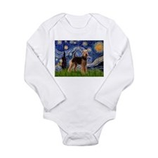 Starry Night Airedale (1) Long Sleeve Infant Bodys