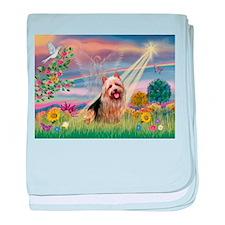 Cloud Angel Aussie Terrier baby blanket