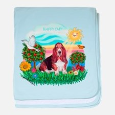 Happy Day Basset baby blanket