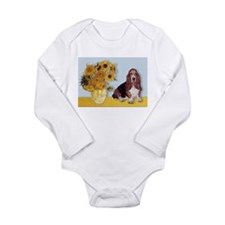 Sunflowers & Basset Long Sleeve Infant Bodysuit