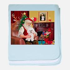Santa's Bichon Frise baby blanket