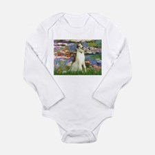 Borzoi in Monet's Lilies Long Sleeve Infant Bodysu