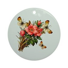 Sage Butterfly Windchimes Ornament (Round)
