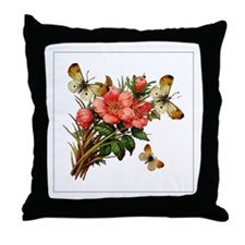 Green Stipe Butterfly Windchime Throw Pillow