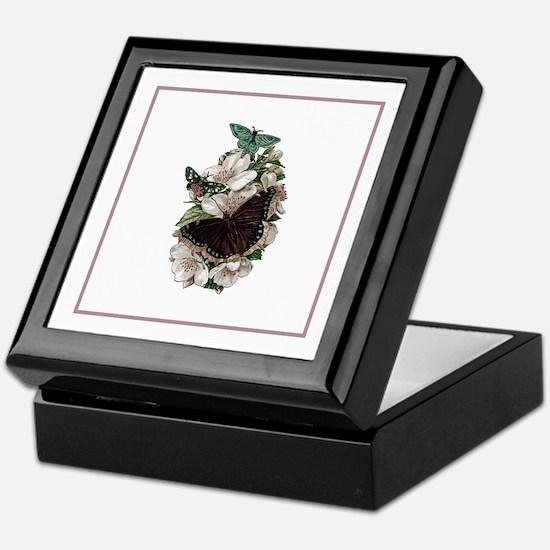 Rose Stripe Butterfly Briar Rose Keepsake Box
