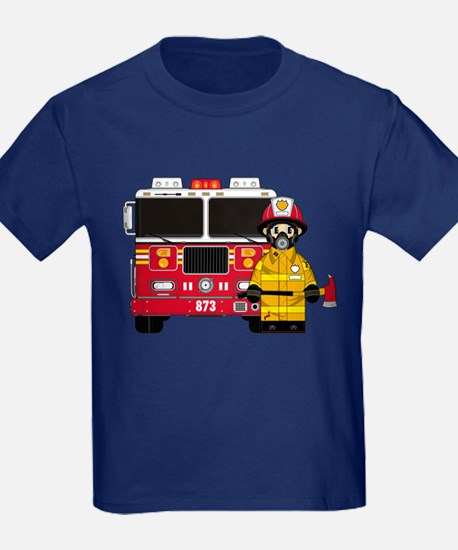 Firefighter and Fire Engine T